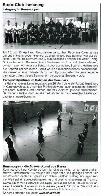 Kummooyeh in German newspaper (검무예 소식:독일 지역 신문)