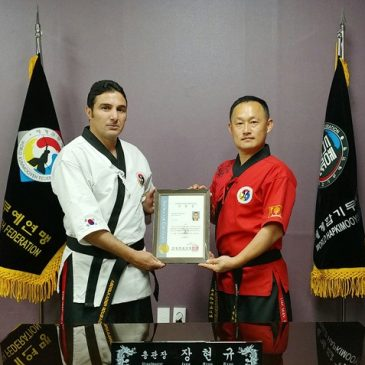 President of Algerian Hapkido federation visits the Kummooyeh HQ for personal training under Grandmaster Hyun Kyoo Jang. (알제리 합기도연맹 회장 검무예 지도자 수련을 위해 연수원 방문)