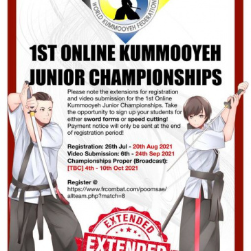 Extensions for registration and video submission for the 1st Online Kummooyeh Junior Championships